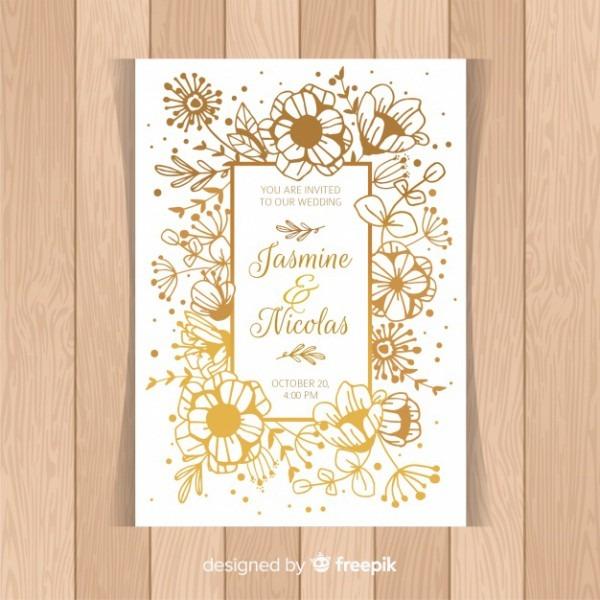 Convite De Casamento Floral Com Estilo Dourado