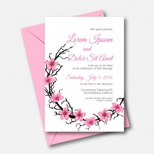 Convite De Casamento Rosa Flor De Cerejeira