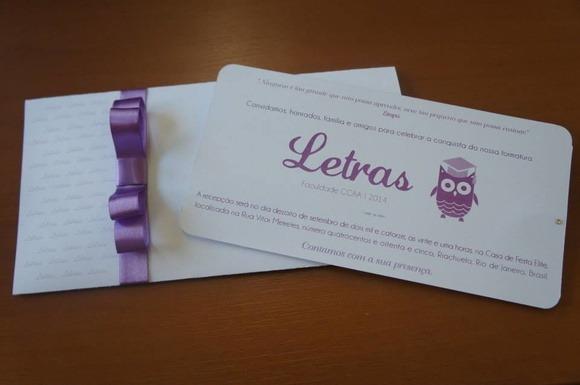 Convite Formatura Lilas