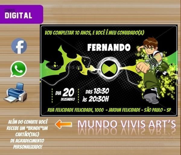 Convite Digital Ben 10 No Elo7