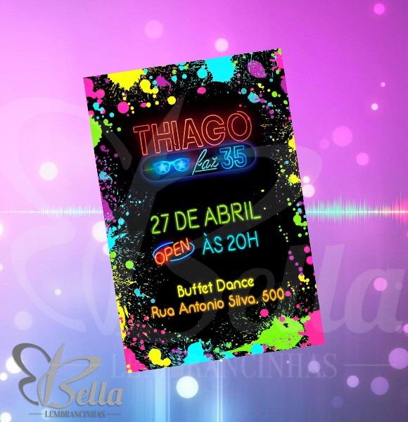 Convite Digital Festa Balada Neon No Elo7