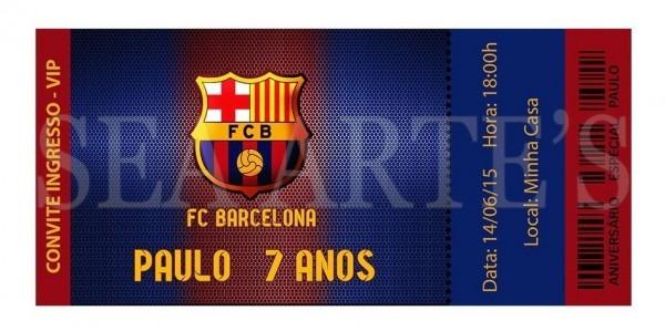 Convite Digital Futebol Barcelona P  Impressão Ou Whatsapp