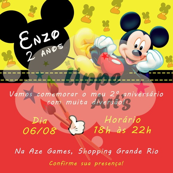 Convite Digital Mickey ⋆ Lippe Art's