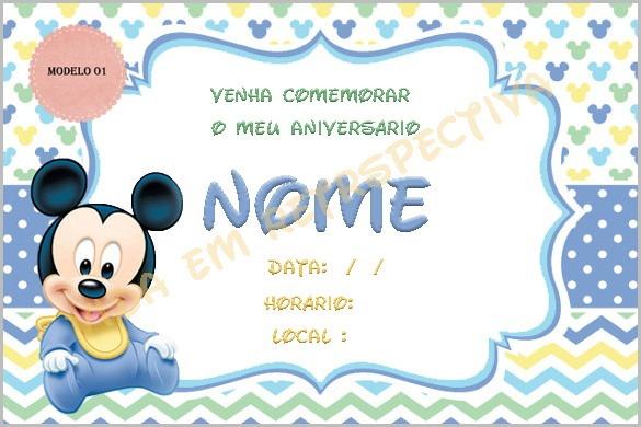 Convite Digital Mickey Baby No Elo7