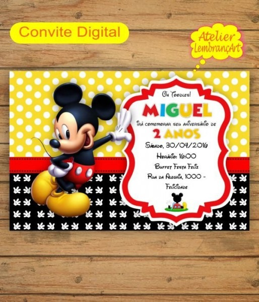 Convite Digital Mickey Mouse