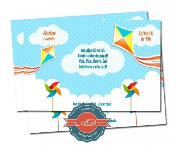 Convite Digital Nuvens, Pipa, Balão