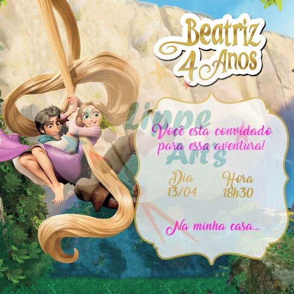 Convite Digital Rapunzel Enrolados ⋆ Lippe Art's
