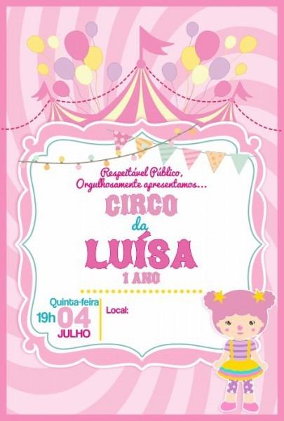 Convite Digital Tema Circo Menina! (envio Imediato)