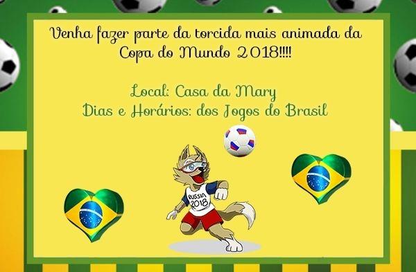 Convite Digital Torcida Copa Do Mundo 2018 = 10,00!!!!!!