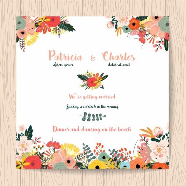 Convite Do Casamento Com Flores Tropicais