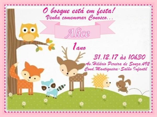 Convite Floresta Menina No Elo7