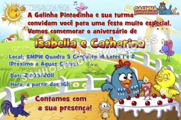 Convite De Aniversário Da Galinha Pintadinha – Modelos De Convite