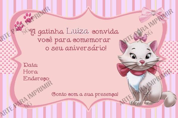 Convite Gatinha Marie 2 No Elo7