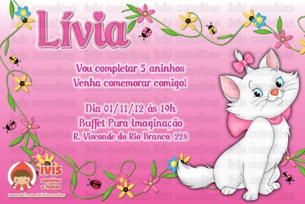 Convite Digital Gatinha Marie No Elo7