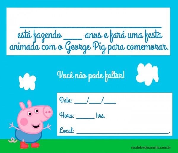 18 Convites Do George Pig Para Editar E Imprimir! – Modelos De Convite