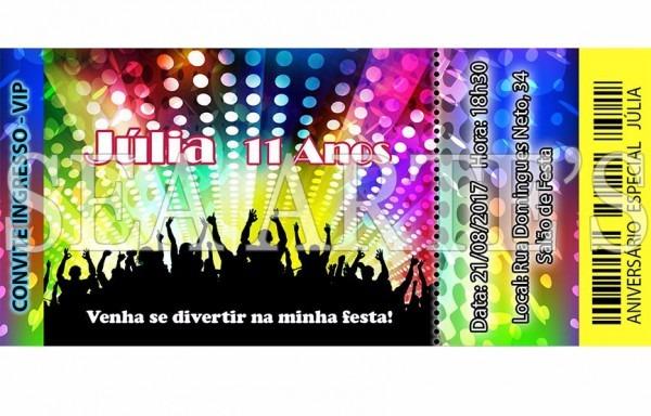 Convite Impresso Festa Balada Neon Ingresso