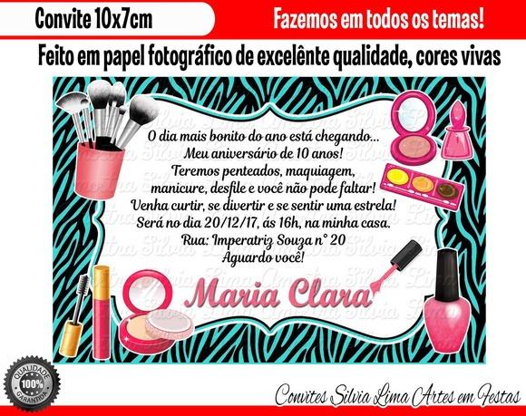 Convite De Aniversario Tema Maquiagem