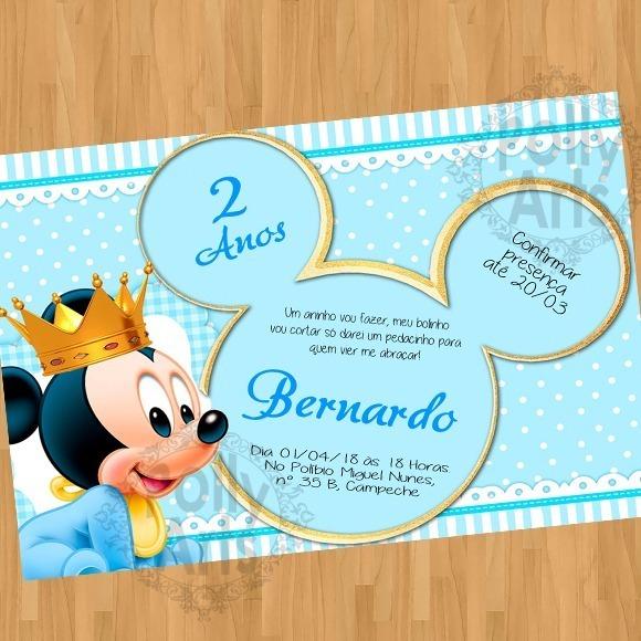 Convite Mickey Baby Bebe Arte Digital Virtual