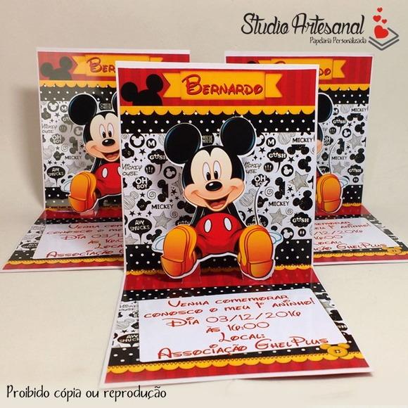 Convite Mini Pop Up Mickey Mouse