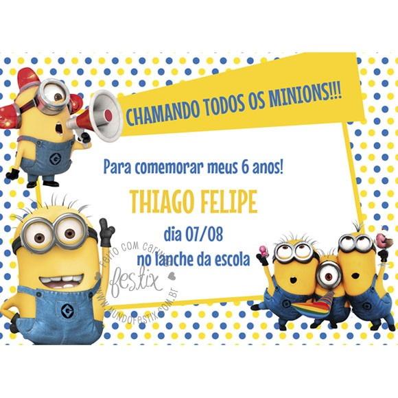 Convite Minions Digital No Elo7