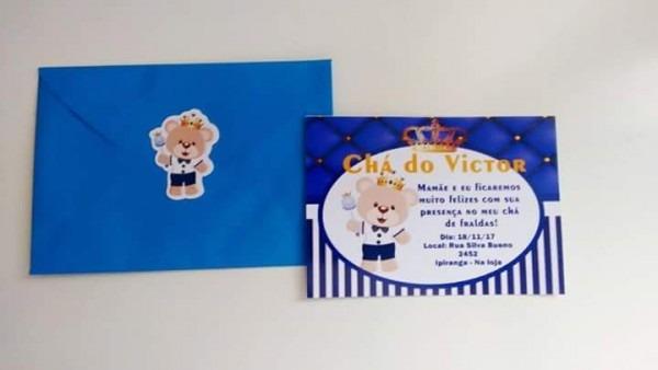 Convite Para Chá De Bebê 30 Unidades