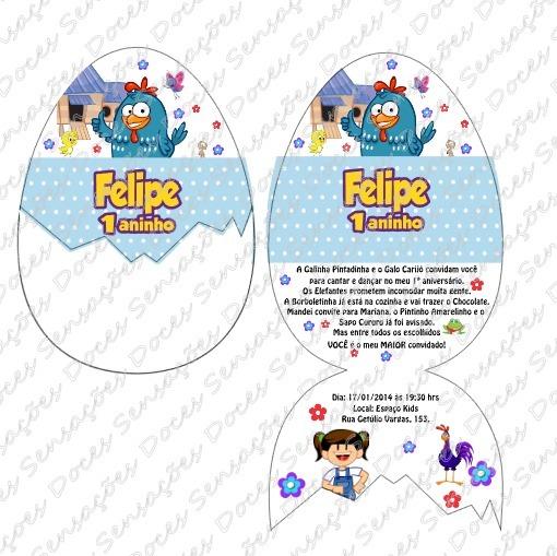 Convite Personalizado Em Formato De Ovo Galinha Pintadinha