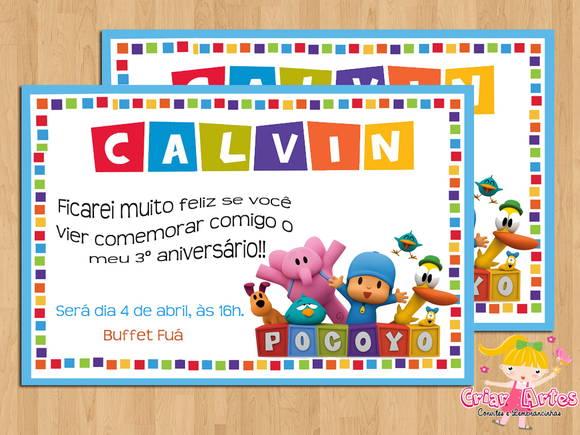 Convite Pocoyo No Elo7