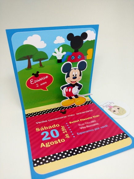 Convite Pop Up Mickey Mouse