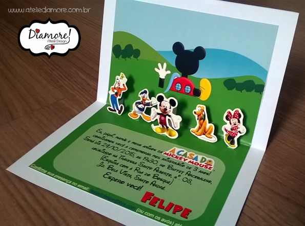 Convite Pop Up – A Casa Do Mickey Mouse – Diamore! Ateliê Design