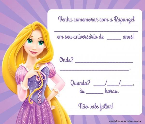 Convite Rapunzel  25 Modelos Encantadores Com A Princesa