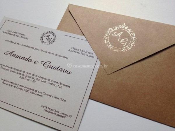 Convite Envelope Tradicional De Papel Convite