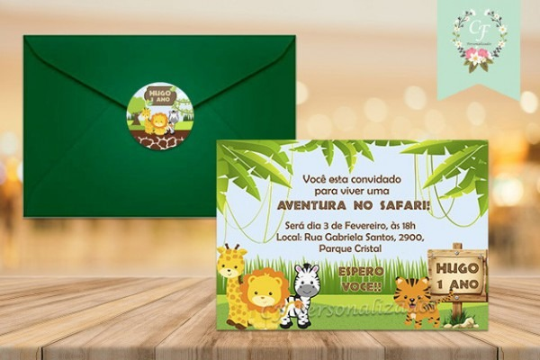 Convite Safari Baby No Elo7