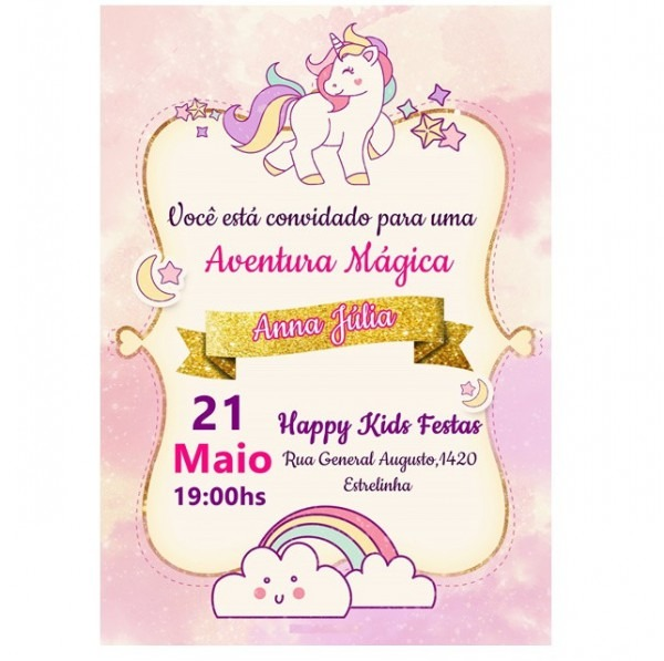 Convite Unicornio No Elo7