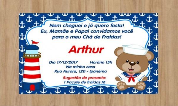 Convite Ursinho Marinheiro Frete Grátis No Elo7
