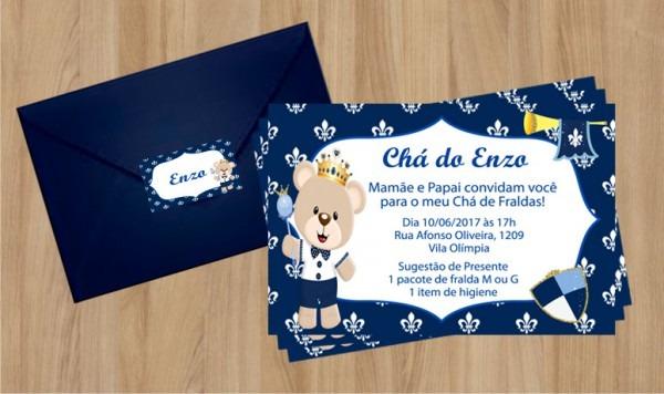 Convite Ursinho Príncipe Com Envelope No Elo7