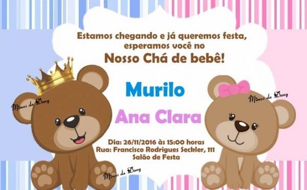 Convite Ursinhos No Elo7