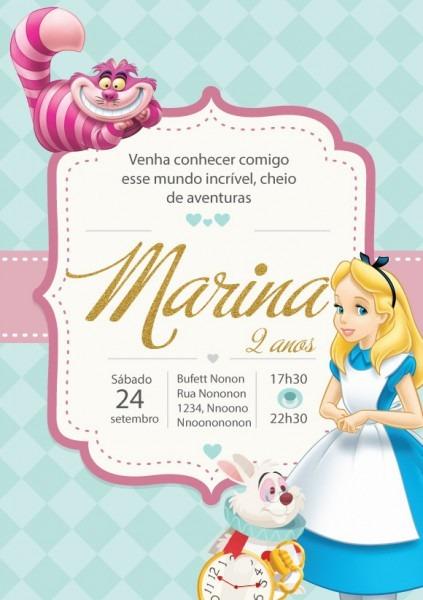 Convite Zap (virtual) Alice No Pais Das Mar  No Elo7