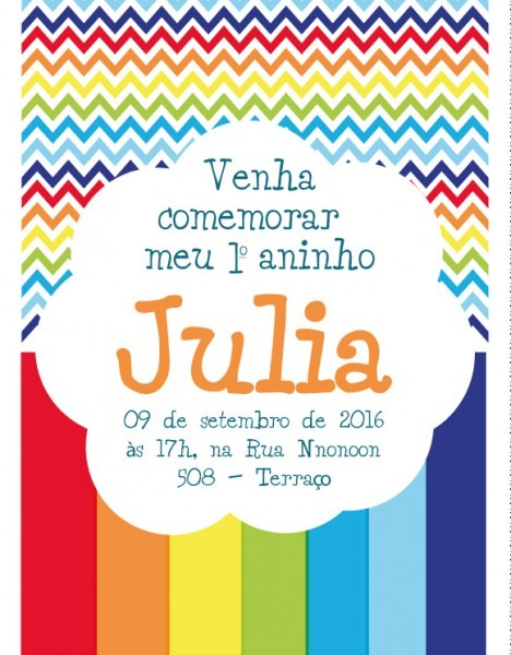 Convite Zap (virtual) Arco íris Colorido No Elo7