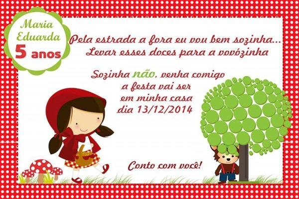 Convite Virtual Chapeuzinho Vermelho E Outros!!!