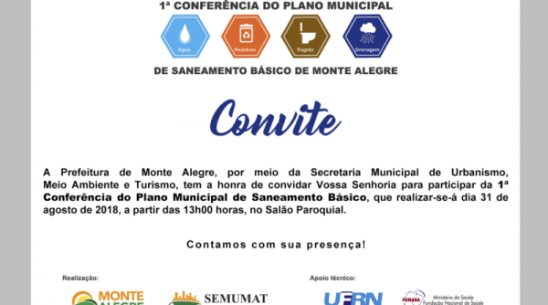 Convite  Conferência Municipal Do Plano De Sanemaneto Básico De