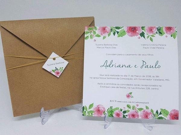 Convites De Casamento Com Envelope 20x20 Cm   100 Und