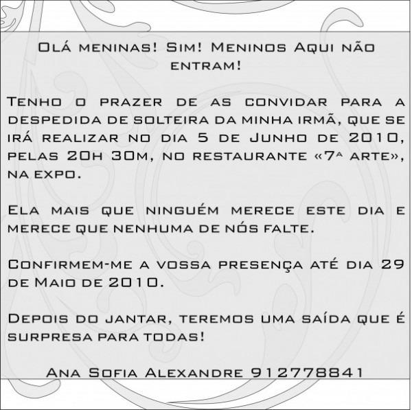 Texto Para Convite Para Despedida De Solteira