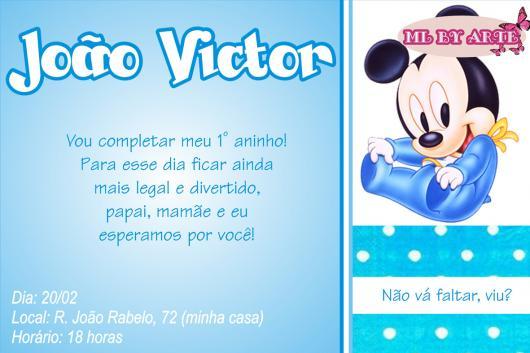 Convites Do Mickey  60 Modelos Sensacionais & Moldes Grátis Para