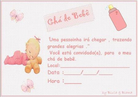 Convites Simples Para Chá De Bebê Para Imprimir
