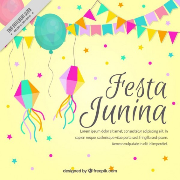 Cute Festa Junina Background With Decorative Elements Vector