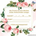 Convite De Aniversario De 70 Anos Feminino Para Imprimir