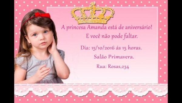 Montagem De Convite De Aniversario Infantil Das Princesas