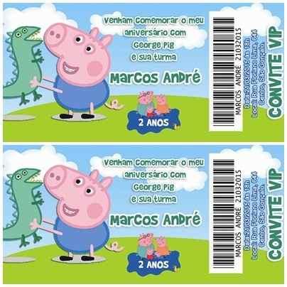Convite Infantil George Pig Tipo Ingresso Vip 50 Unidades