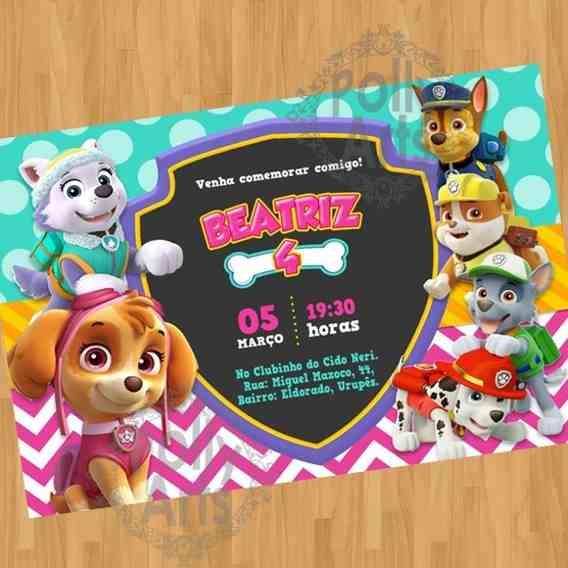 Convite De Aniversario Patrulha Canina Menina