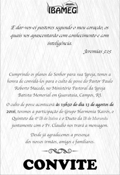 Carta Convite Para Pastor Pregar